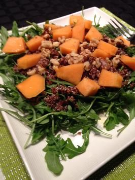 Red Quinoa, Almond and Arugula Salad (By Marco Borges). Photo by JanuaryBridehttp://www.food.com/recipe/red-quinoa-almond-and-arugula-salad-by-marco-borges-511872
