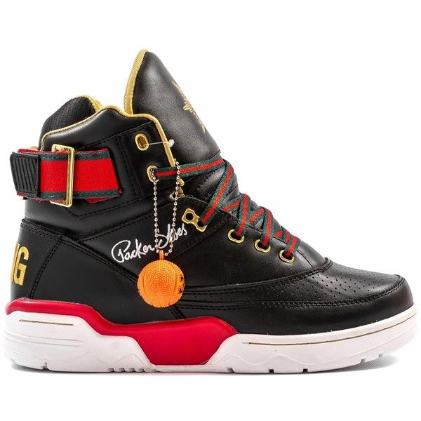 Ewing Athletics Aloysius 33 Hi Black/Red-Green ❤ liked on Polyvore  featuring shoes