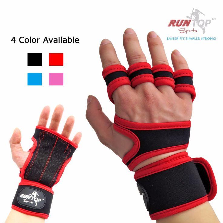 RUNTOP Crossfit WODS Training Grip Gloves Pad Wrist Wrap Brace Support Workout Fitness Weight Lifting Powerlifting GYM Men Women