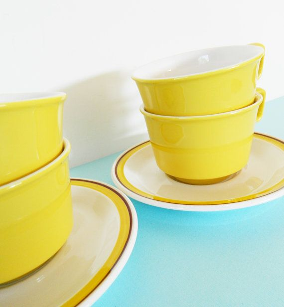 Set of 4 Vintage Yellow Coffee Cups and by AmeliaBedeliaVintage, $38.00