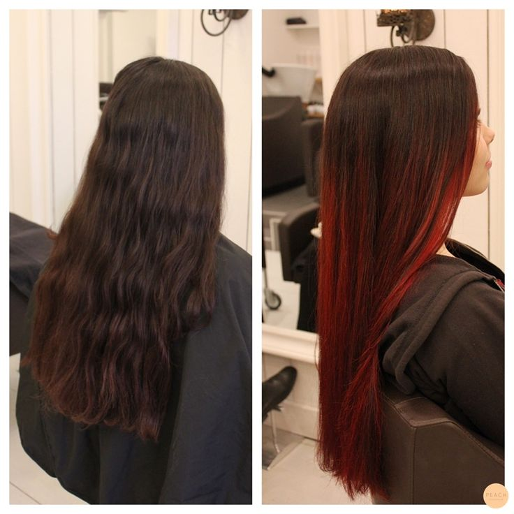 red ombre balayage highlights
