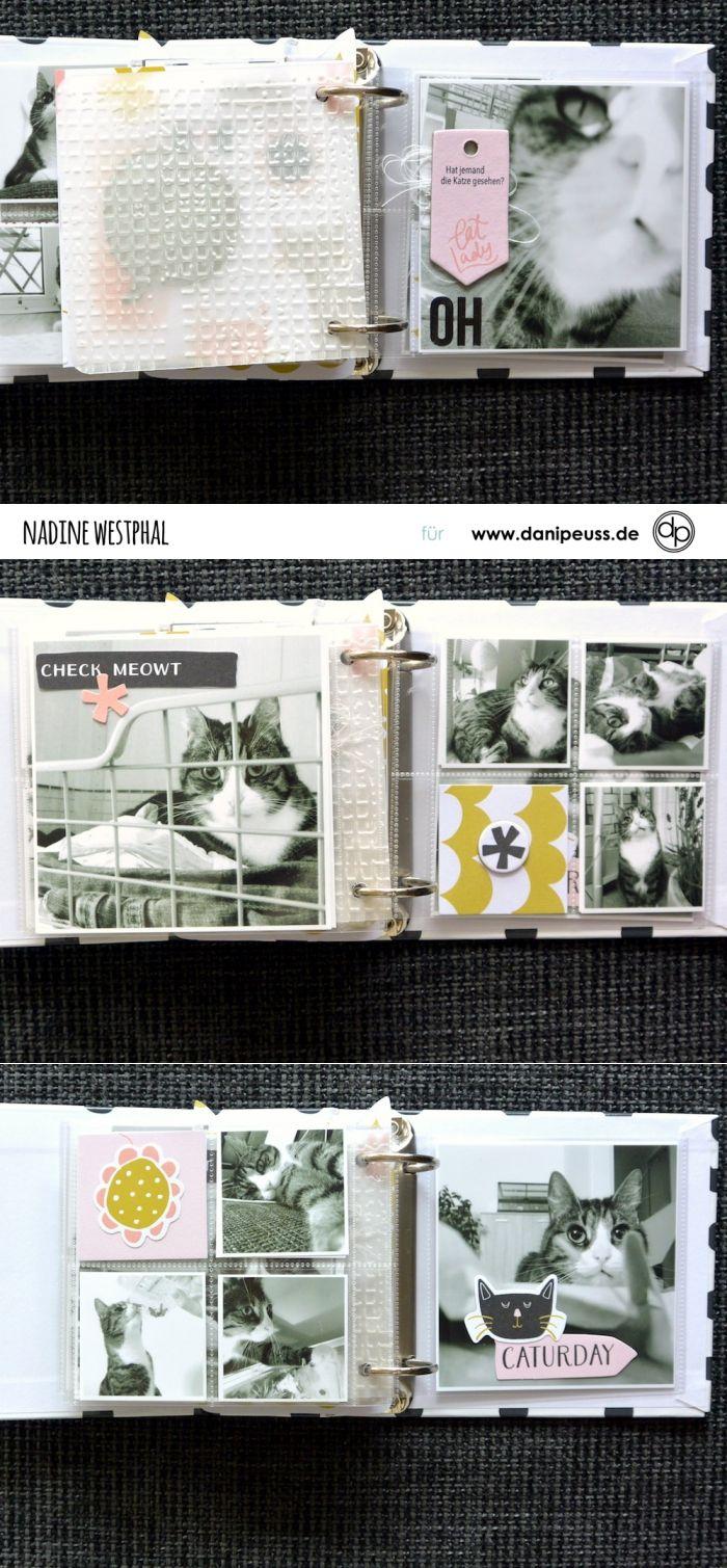Katzenalbum Minialbum Mit Klartextstempel Miau Und My Minds Eye Collection Meow Von Nadine Westphal Fur Www Danipeuss De Scrap Karten Basteln Buch Binden Album