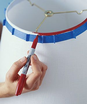 Why haven't I thought of this before? Use a Sharpie on a plain lampshade, (use painter's tape to make straight lines!)
