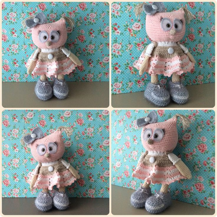 Cute Little Owl with Girly Dress and bling bling shoes. Made by Kriziwizi