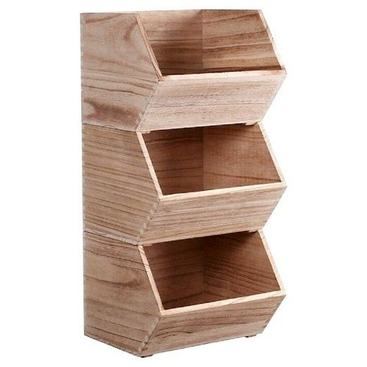 "The Small Wood Storage Bin in Natural from Pillowfort is perfect for organizing your home. The stackable bin can be set on a shelf or the floor and help your store toys, knitting supplies, and much more. The lightweight Paulownia wood bin has an opening on the top and on the front for easy access. The bin measures 8"" H x 10"" W x 11"" D and weighs 1.32 pounds.  These bins are designed to be stacked no more than three high."