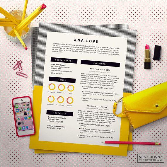 Reprendre le modèle / modèle CV Design pour Word + lettre de motivation | Télécharger Instant imprimable + échantillons pour une marque personnelle créative | POP moderne