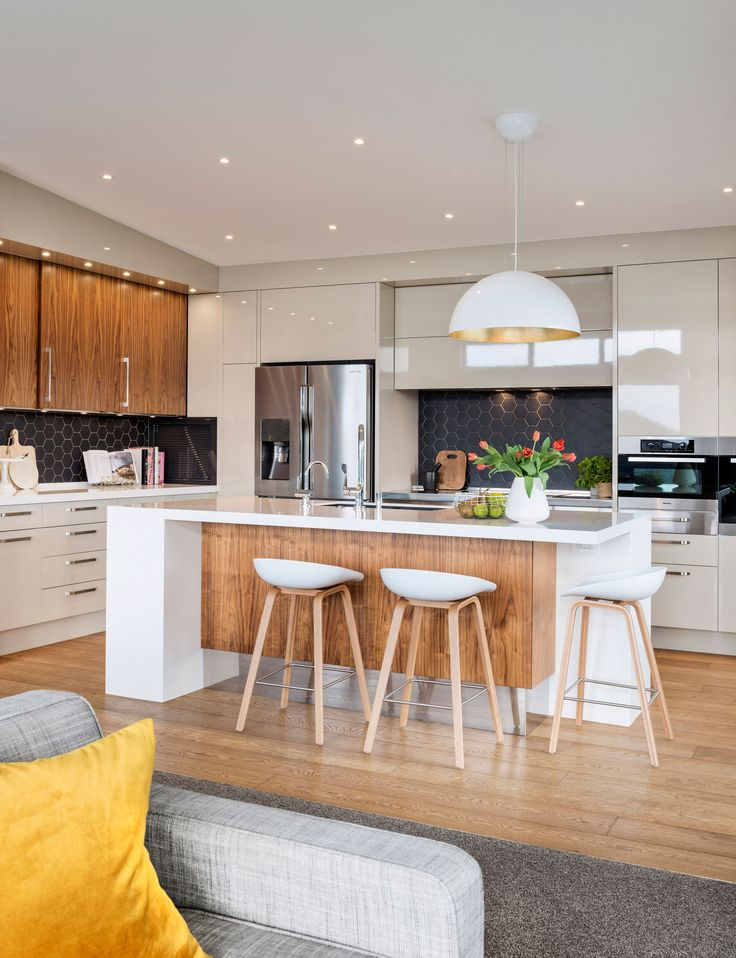 A modern kitchen renovation with mid century style