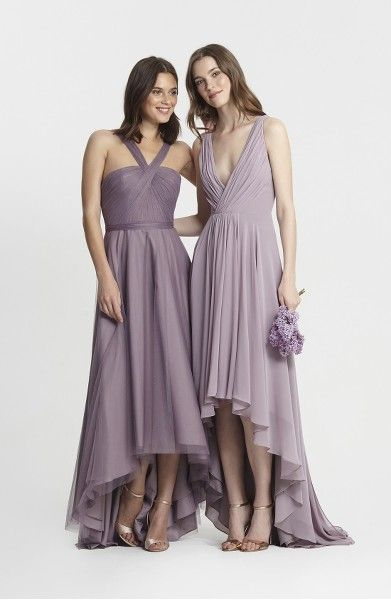 Main Image - Monique Lhuillier Bridesmaids Deep V-Neck Chiffon High/Low Gown
