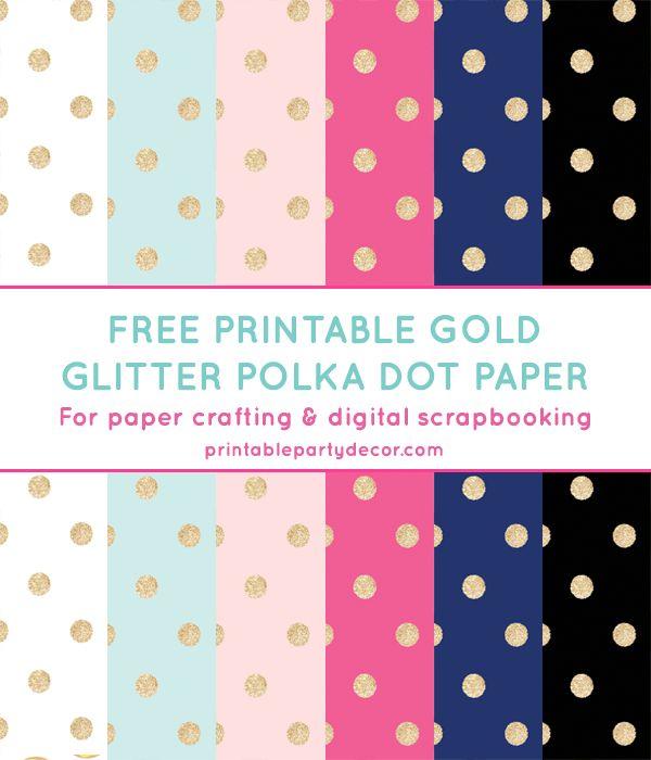 Free Printable Gold Glitter Polka Dot Digital Paper from printablepartydecor.com #freeprintable
