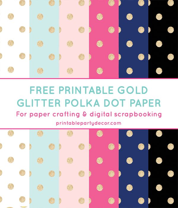 Free Printable Gold Glitter Polka Dot Digital Paper from printablepartydecor.com #freeprintable
