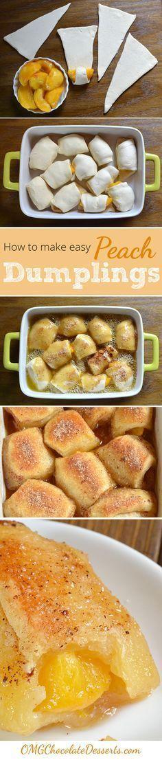 Delicious Peach Dumplings Recipe ~ crescent rolls, butter, brown sugar, vanilla, cinnamon, lemon juice, orange soda  2-3 peaches :)    8x8 baking dish