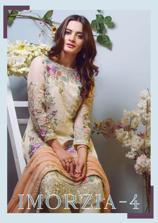 1759ca65dd Deepsy Suits Imorzia Vol 4 Heavy Embroidered Georgette Pakistani Style  Dress Material Collection Surat