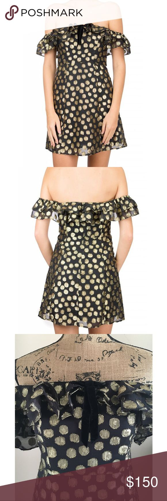 For Love & Lemons Lottie Ruffle Mini Dress Just in time for the holidays, the Lottie Ruffle Mini Dress gives your little black dress a festive update. With a gold dot metallic burnout and ruffled sleeves that carelessly fall to graze your shoulders, this gorgeous mini is complete with a velvet ribbon and a fit and flare finish  ✨Stacked Off Shoulder Ruffles ✨Fixed Velvet Ribbon at Neckline ✨Fit and Flare ✨Invisible Zipper ✨Lined For Love And Lemons Dresses Mini