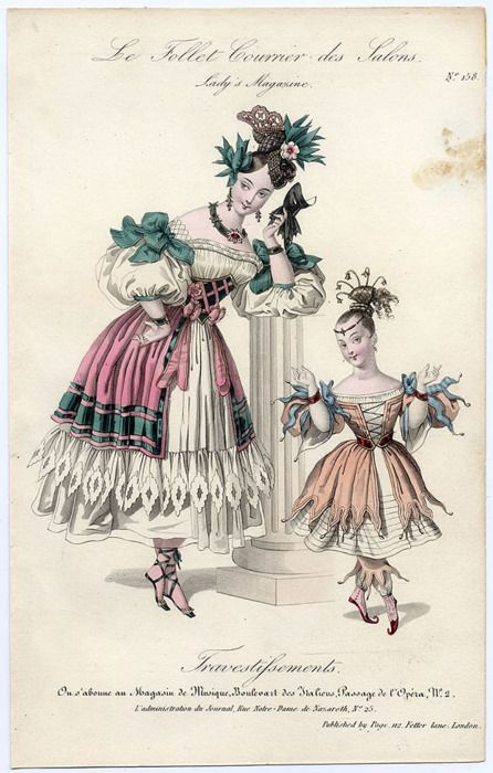 Lovely coordinated fancy dress costumes for mother and daughter from Le Follet Courrier des Salons, 1832.