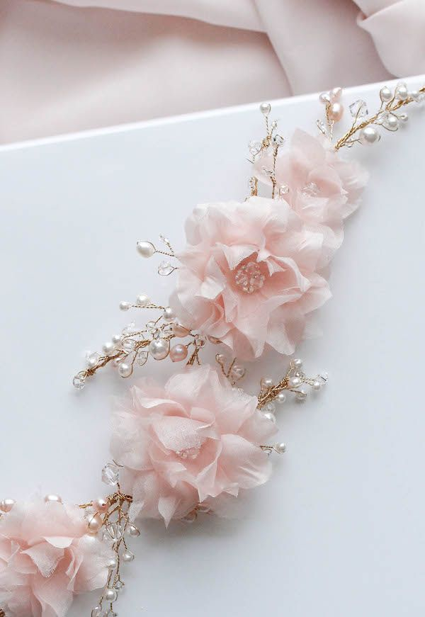 Wild and Whimsy | A pink bridal headpiece with silk flowers and pearls for Kate