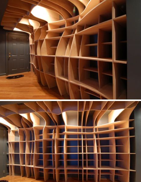 Fluid Free Form Bookcase By Dbd Studio Acts As Functional Storage And Sculptural Art Piece In A Washington D MDF Is An Ideal Material For Digitally
