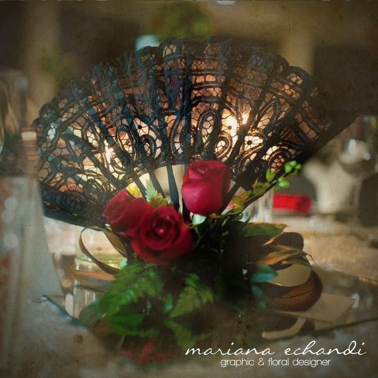 centro de mesa para boda estilo flamenco: