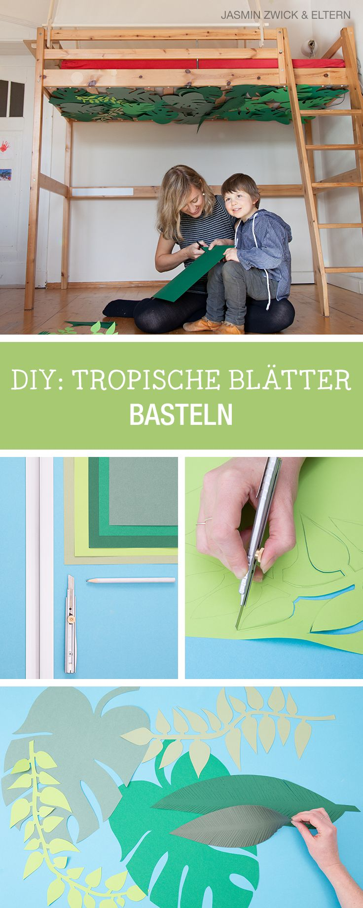 Bastelanleitung: Tropische Blätter aus Papier schneiden, Kinderzimmer verschönern mit Eltern.de / crafting inspiration for the children's room: how to craft tropical leaves via DaWanda.com