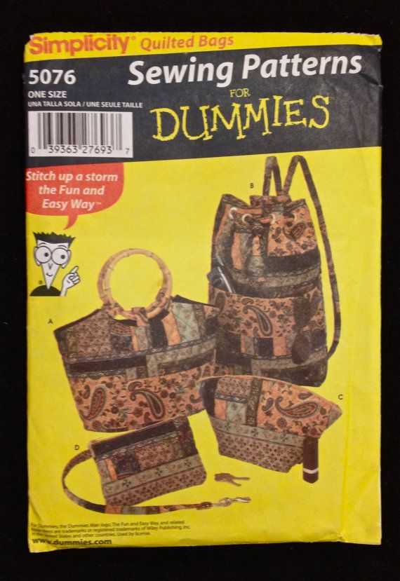 BAGS & ACCESSORIES Sewing for Dummies Pattern  ONLY $4.95 - SOLD!