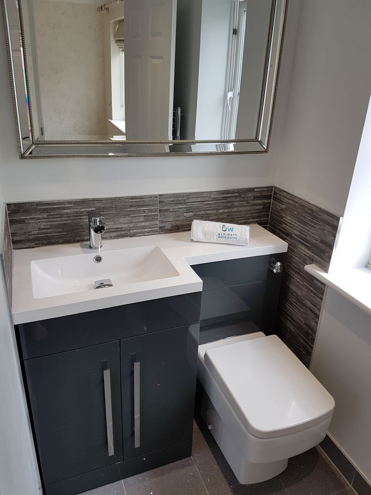 shades bathroom furniture uk%0A Compact Ensuite  shades of grey  Quartz floor tile  gloss vanity units  u      elegant