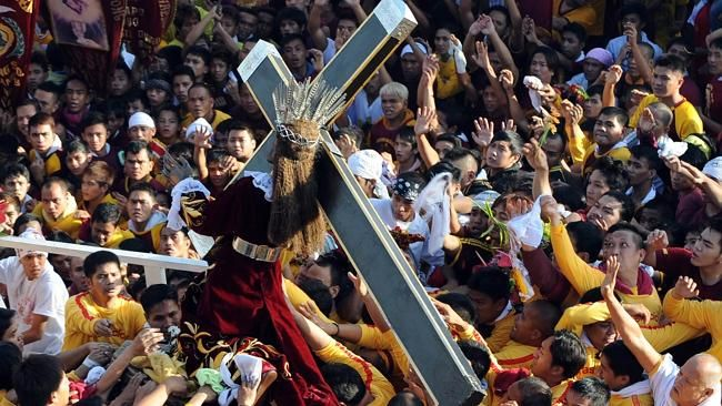 Almost everyday there's a town or barrio fiesta celebrated somewhere in the predominantly Catholic Philippines. Among the biggest of them is the Feast of the BLACK NAZARENE in Manila.