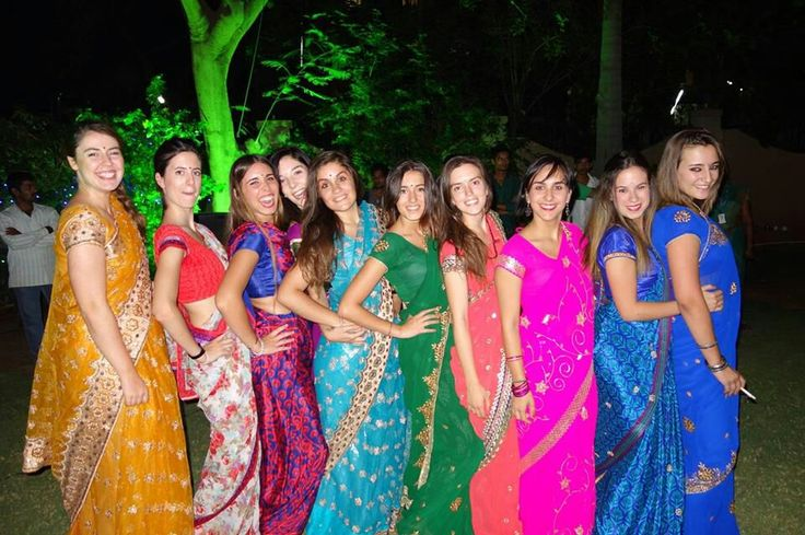 Welcome party in Poona, India. Dressed up with Saris. #india #sari