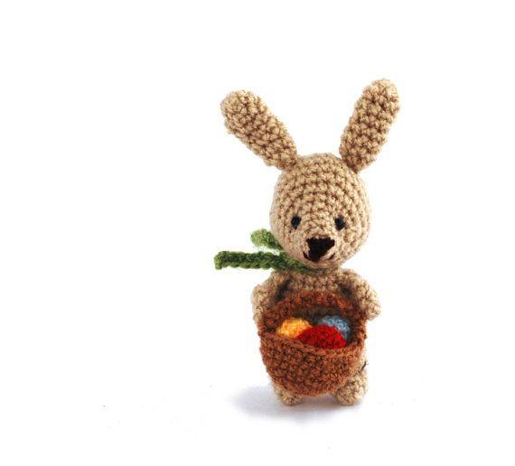 $23.48 #MINIATURE #BUNNY, #tiny bunny with #Easterbasket, #crocheted #rabbit, #amigurumi #tiny bunny, #little bunny #doll, #home decor, #Easter #decoration