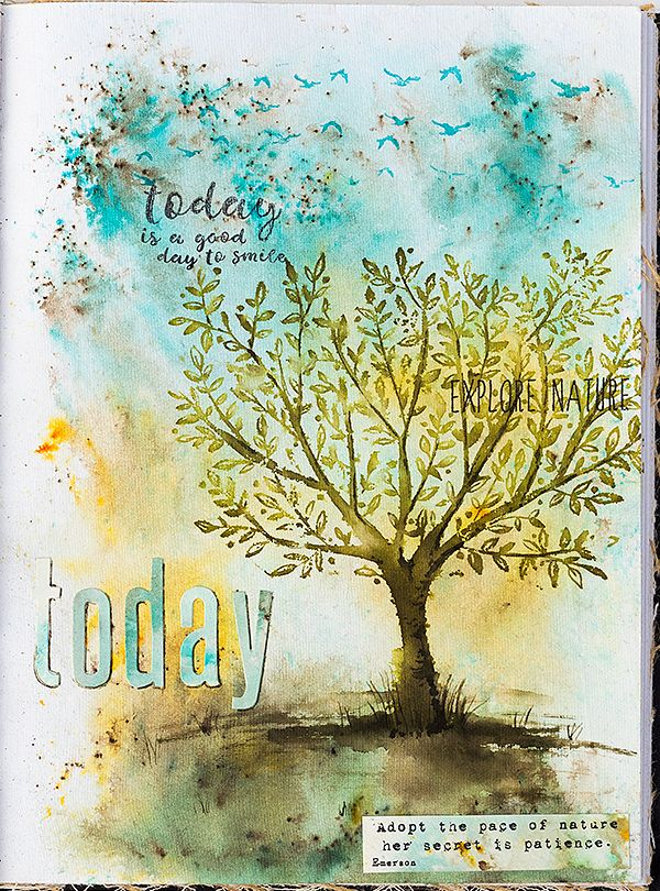 Tree Art Journal Page Tutorial by Anna-Karin Evaldsson. Made with Simon Says Stamp exclusive stamps,  Darkroom Door stamps, Sizzix Tim Holtz dies and Paper Artsy Infusions.
