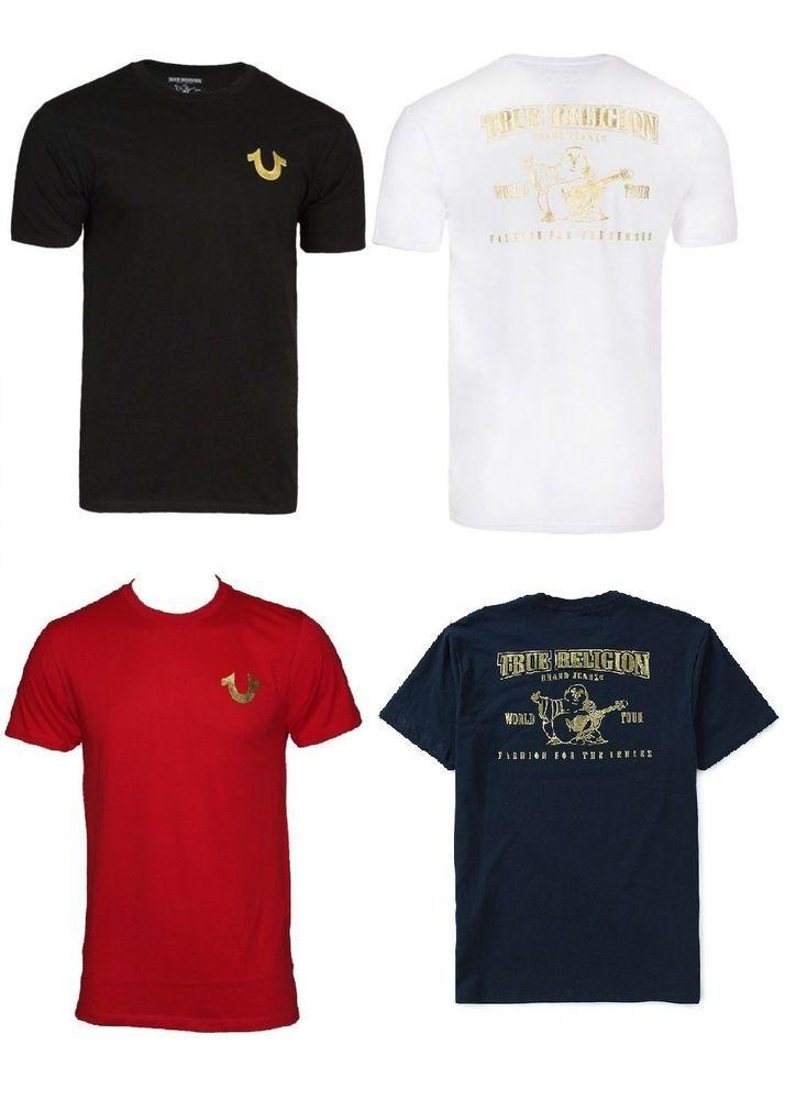 85e274b34ac40 True Religion Brand Jeans Men s Gold Buddha Logo Horseshoe Tee T- Shirt   TrueReligion  GraphicTee
