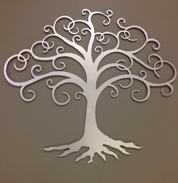 "Tree of Life industrial metal wall art in silver 24""                                                                                                                                                                                 More"
