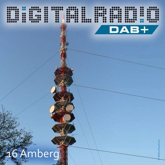 (16) Amberg/Oberpfalz * auf dem Rotbühl gelegener Sender betrieben von der Deutschen Funkturm * Nutzung des 127,6 m hohen Stahlfachwerkmast für UKW, DAB/DAB+, DVB-T * seit Juli 2000 strahlt die BDR Digitalradio vom Standort aus * auch der BR nutzt Amberg für die Verbreitung seiner DAB+ Programme (11D) *