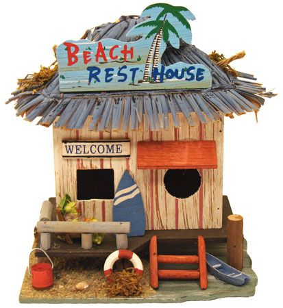 Wood Beach Shack Birdhouse