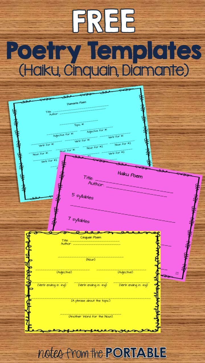 Love these free poetry templates!  So easy to use with my poetry unit.  The students were able to focus on their writing rather than the pattern! #poetry