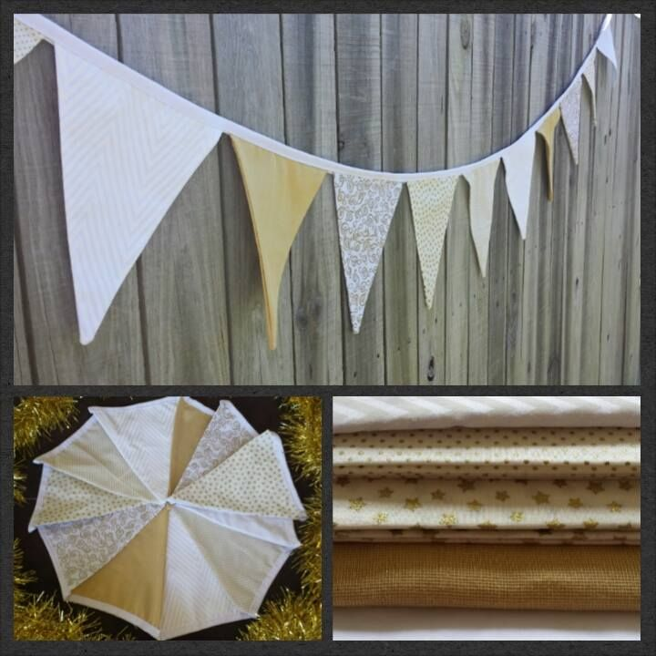 Gold and white bunting used for special occasions such as Christmas or just simply to decorate a room gezam.creations@gmail.com