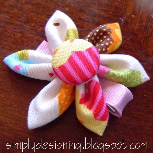 DIY Folded Hair Clip Flower Tutorial DIY Hair Accessories DIY Hair Clips DIY Barrettes