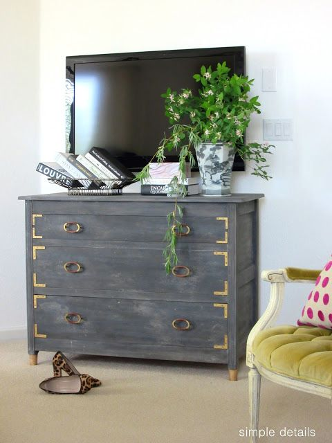 Amazing DIY dresser revamp paint treatment. Anthropologie knock off from Simple Details.