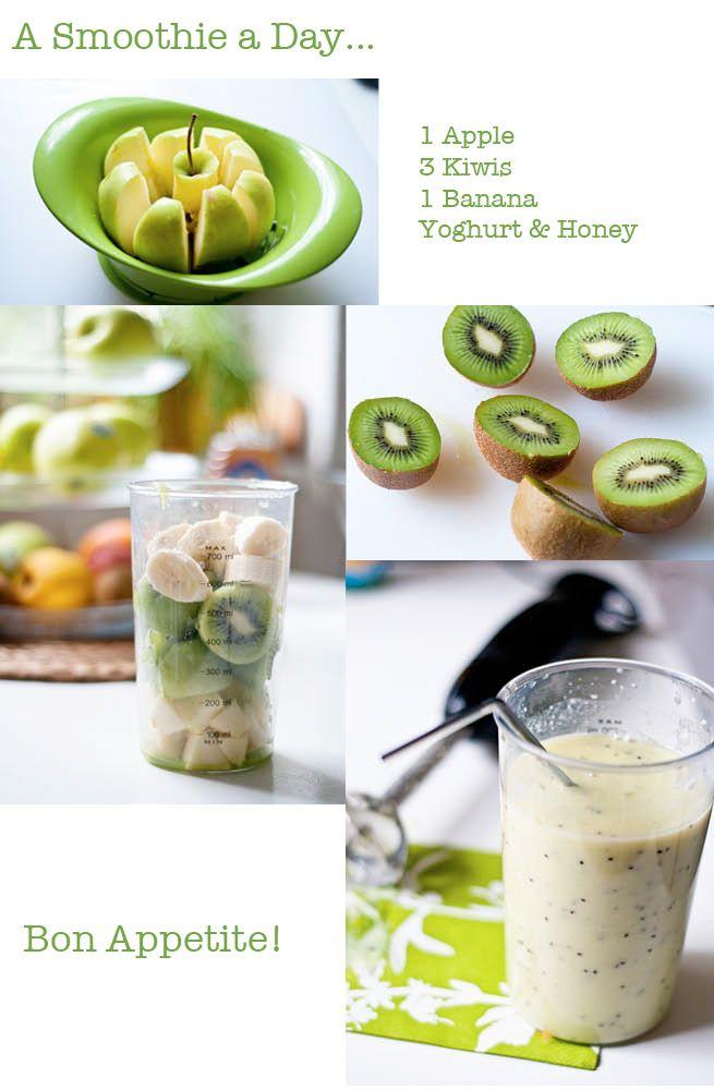 Smoothie: pomme, banane, kiwi yaourt et miel