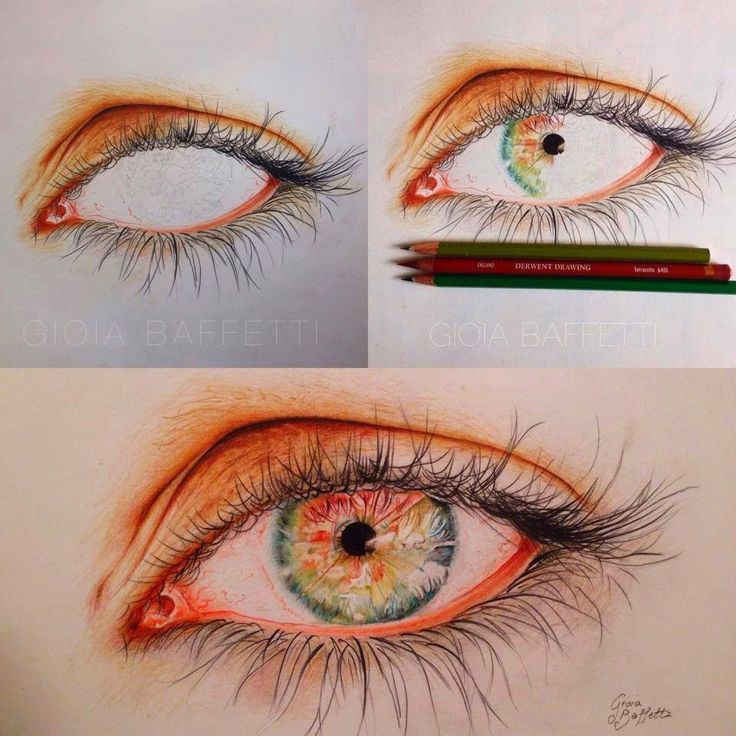Color pencil eye step by step