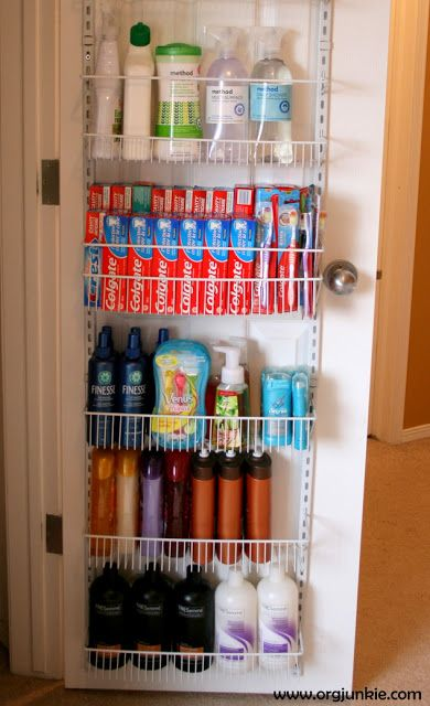 Closet Door Storage Space ~ To stock up when on sale. Hide in hallway bathroom closet