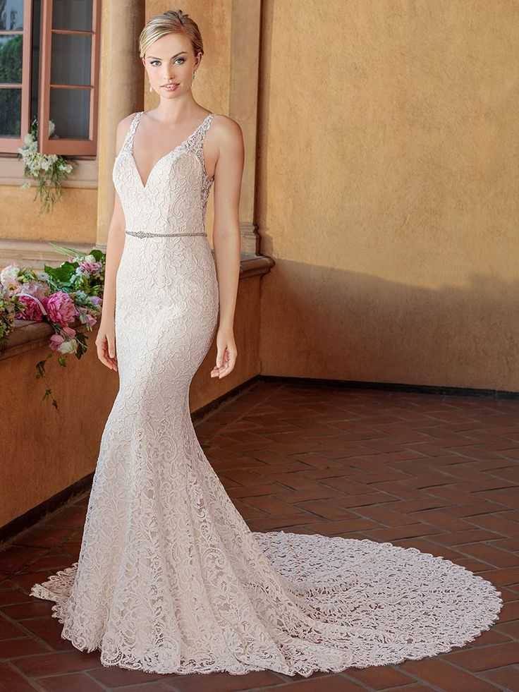 Casablanca Bridal Style 2319 Niki Wedding Dress The Re Embroidered Lace Of Creates A Slightly Dimensional Texture That Rises Off Stretch Georgette