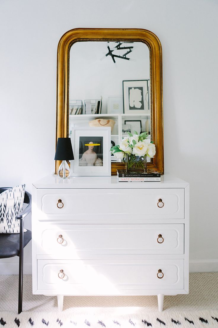 French-Inspired Office with White Dresser and Thick Gold Mirror