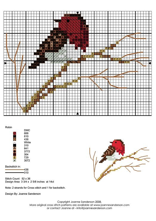 winter bird cross stitch chart