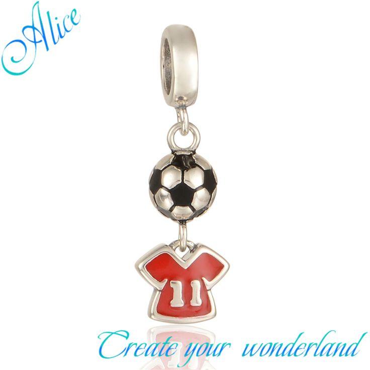 Сумасшедший футбольные болельщики кулон чистый 925 настоящее серебряные ювелирные изделия плавающие прелести подходят 2015 змея браслет алиса S275