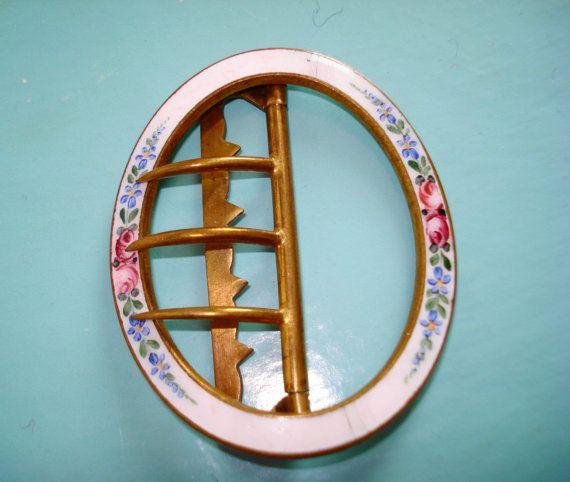 Vintage Enamel and Brass Belt Buckle  Floral by AngelVintageLondon