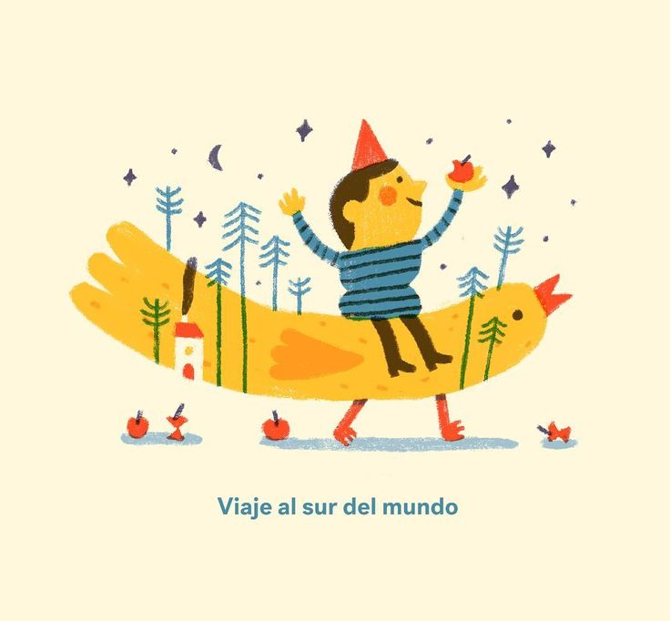 Al sur. #illustration #bird #children #apple #trip #south #childrenillustration #fantasy