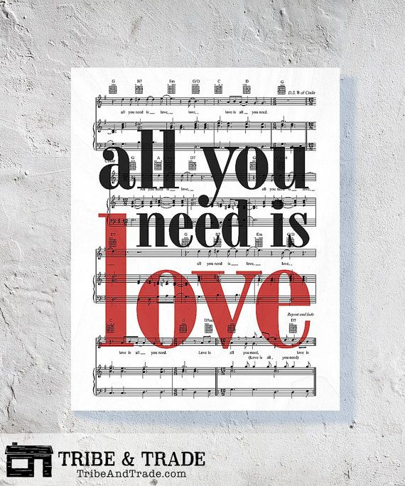 "Beatles Lyrics Wood Wall Art - 8x10"" or 11x14"" ""All You Need Is Love"" Song Sheet Music on Ready to Hang Wooden Panel Wall Decor"