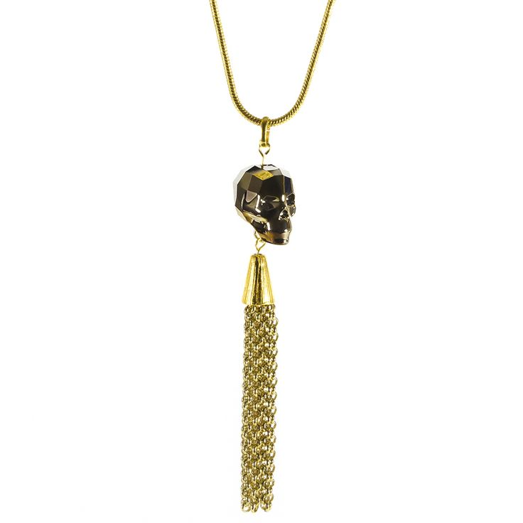 Skull Tassel Pendant (Golden Night) - Edgy new season Swarovski crystal skull with a gold tinge, a swishy chain tassel, hung on a medium sized 24 inch snake chain. Great for this season's 70s trends.
