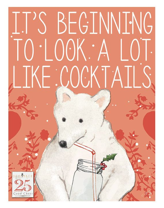 COCKTAIL BEAR Christmas Greeting Card Polar Bear by HighberryDew