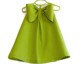 Big Bow Dress Girls Spring Summer Dress Linen Blend Toddler