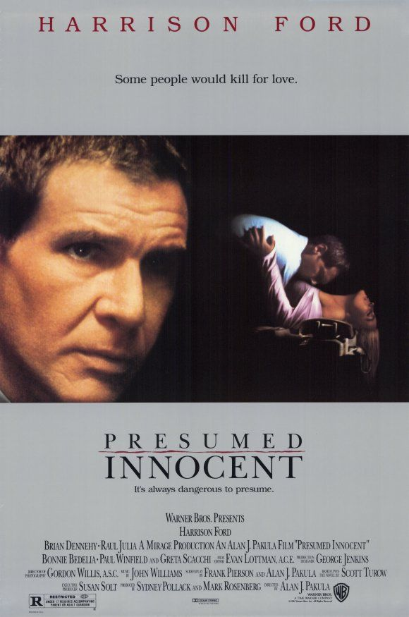 Presumed Innocent (1990) Prosecutor Rusty Sabich is assigned to investigate the brutal murder of a co-worker. But when his fingerprints turn up at the scene, he's forced to admit he was having an affair with the victim and becomes the prime suspect. Harrison Ford, Raul Julia, Greta Scacchi...7d